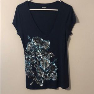 Short sleeved embellished top